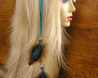 """14"""" Feather Hair Extension - Turquoise Leather with Pheasant  and marabou feathers and trade beads, your choice of hair clip or earcuff"""