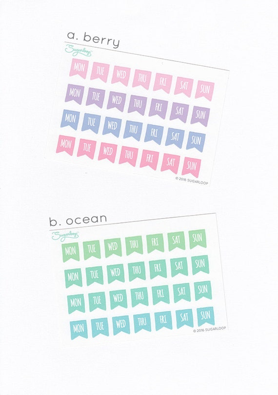 28 small flags, days of the week, your choice of colors, bullet journal stickers, planner stickers, rainbow colors, color code, S1DAY3