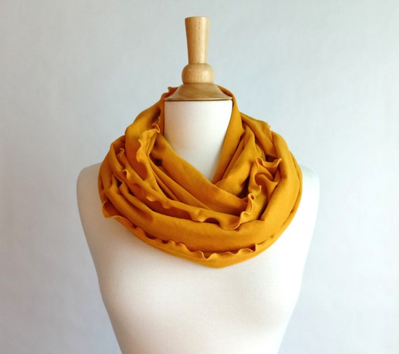 Infinity Scarf Mustard Yellow, cotton jersey scarf, tube scarf, loop circle scarf, cowl scarf, ruffle scarf, holiday gift - Ready to Ship