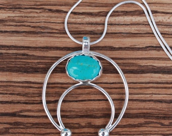 Handmade Sterling Silver and Turquoise Squash Blossom/Naja Pendant