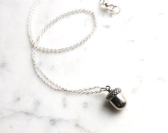 Silver Toned Acorn Charm Necklace
