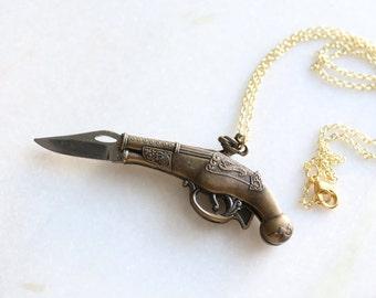 Vintage Brass Flintlock Pistol Gun Pocket Knife Necklace
