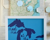 Lake House Decorations - Lake House Gifts - Lake House Sign - Great Lakes - Midwest is Best - Meet Me at the Lake in Blue