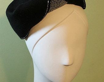 Women's Black Wool Hand-beaded Sculptural Hat - 1930s 1940s Style Black Wool Women's Hat - Medium - OOAK