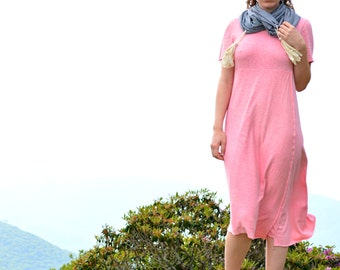 Follow your Heart Below the knee Dress in Organic Hemp Jersey (short sleeves). Made to order.