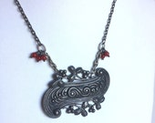 Handmade Antique Silver Necklace - Vintage Pendant Paisley - Dots, Curls, Leaves, Berries, Coral Red Berry Bead Clusters - Dark Silver Chain