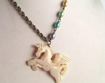 Handmade Unicorn Pegasus Necklace Carved Bone Scrimshaw Pendant Pastel Rainbow Glass Pearl Beads Antique Silver/Gold Chain Vintage Materials