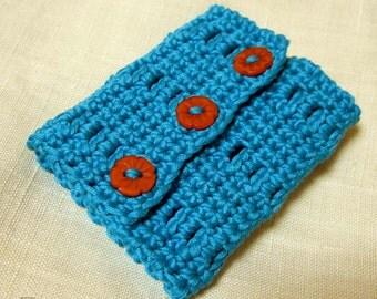 Aqua Wrist Cuff - XS/XXS adjustable - Orange Flower Buttons - Bright Teal Egyptian Cotton Wrist Warmer