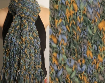 Hand Made Knit Wool Scarf Blue Green Camel Grey chunky