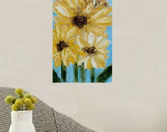 Sale--- Large Sunflower Painting, Original Art, Original Painting, Vertical Painting, Winjimir, Yellow Flowers,  Spring, Mom, Mothers Day.