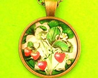Strawberry Blossoms Rockabella Garden Fruit Glass Pendant Necklace