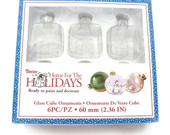 """Cube Clear Ornaments Set of 6 Clear Glass Cubes  2"""" Squares 2-3/4"""" High - Create Your Own Christmas Ornaments - DIY Supplies"""