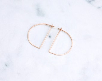 Rose Gold Hoops, Large Half Moon , Modern Minimalist Half Circle Hoop Earrings, Hammered Wire Earrings in Pink Gold, Geometric Earrings