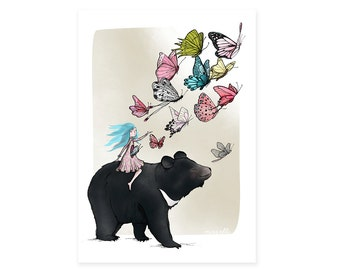 Moon Bear Butterflies Card -  animals greetings card birthday cards - no wording