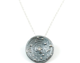 Galaxy Pendant in Sterling Silver with Center Moissanite - Made to Order
