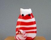 Sweet Peppermint Handmade Lampwork Cat Bead Focal - Andi FatCat
