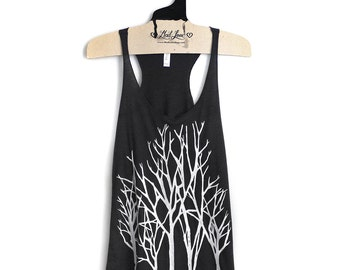S, M,L,XL -Dark Charcoal Racerback Tank with Branch Trees Screen Print