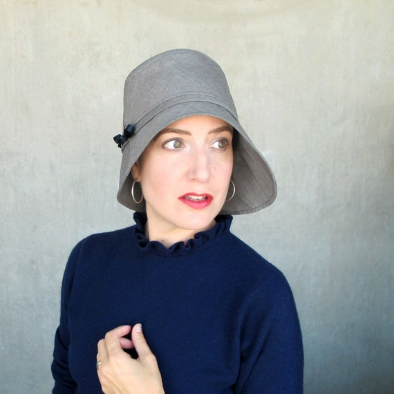 Grey rain hat with wide asymmetrical brim, Womens gray rainwear cloche, Ladies spring bucket hat : Harbinger