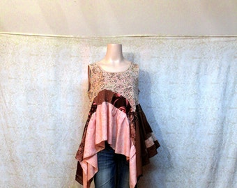 REVIVAL Women's Upcycled Boho Shirt, Shabby Chic Romantic Bohemian Junk Gypsy Style, Large to XLarge, Recycled Repurposed EcoFriendly