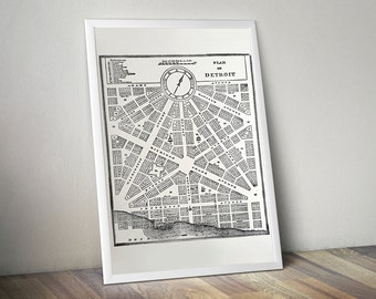 Detroit Map Screen Printed Poster. 1831 City Plan. Detroit historic art print, 19x25 silkscreen print.