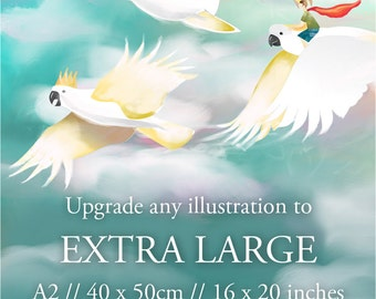Wall art upgrade to extra large size - A2 / 40 x 50cm / 16 x 20 inches