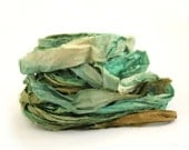 Recycled sari silk ribbon handdyed in Deep Forest, 10metre length, textile arts, mixed media, jewellery making