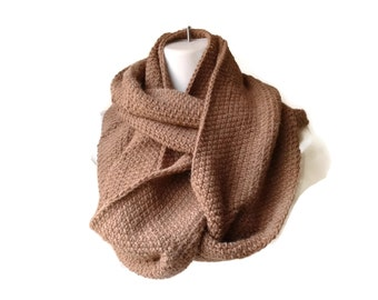 Beige Alpaca Infinity Scarf Taupe Camel Long Circle Oversize Loop Neutral SAMANTHA Ready to Ship - Autumn Winter Gift for Her