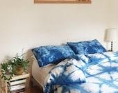 Hand Dyed Indigo Bedding, Shibori Bedding, TWIN Size Duvet Cover and Pillow Case, Anna Joyce, Portland, Or