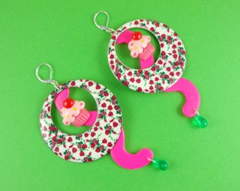 Rose Cupcake Earrings - big statement earrings, floral hoops, red green pink, cute cup cakes, Sweet Lolita, hot pink neon pink, kitsch loud