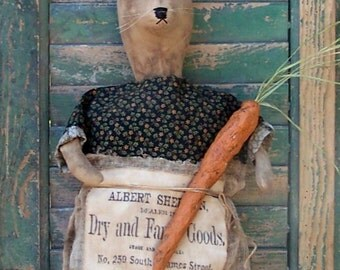 Primitive Rabbit Doll, Vintage Advertising Apron, Rustic Paper Mache Carrot, Summer Decor, Black Green Red Dress - READY TO SHIP
