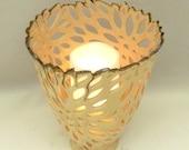 Artistic Cut Out Vase in Sunflower Design, Studio Art Object, Fine Art Ceramic Sculpture, Home Decor, Large Vase, Decorative Vessel