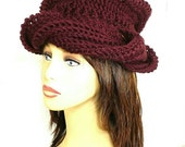 Crochet Hat Womens Hat, Womens Crochet Hat, Womens Turban Hat, Crochet Beanie Hat, Aubergine Hat, SAMANTHA Turban Hat, Avant Garde