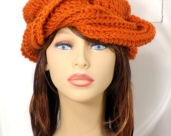 Burnt Pumpkin Orange Womens Hat Turban, Crochet Hat Turban, Casual Hat Turban, Head Wraps, Chemo Headwear, Samantha Crochet Beanie Turban