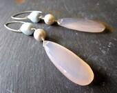 Blue Opal Pearls Chalcedony LUXE Gemstone Earrings - Sterling Silver - Etsy Jewelry - catROCKS - Grace Frankie - glam - Cornflower - Pink