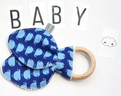 Ear bunny teether ring - whales - blue - navy blue - bamboo terry cloth - baby gift - baby shower - birthday - baby boy