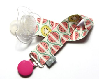 Pacifier clip - snap - enamel clip - dots - watermelon - kiwi - pink - green - cotton - baby boy girl - baby gift - baby shower - dummy