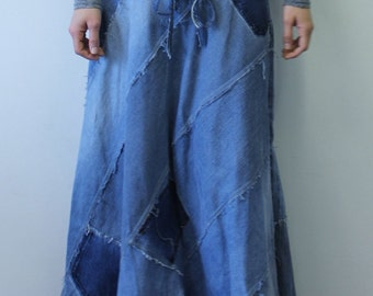 Custom Made to Order for Long Bias Half Circle Denim Maxi Skirt Ecofriendly Repurposed Recycled Upcycled