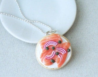 Bagel and Lox Necklace - polymer clay miniature food jewelry