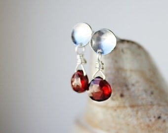 Garnet earrings, red gemstone jewelry, sterling silver post earrings, gift for wife girlfriend, small earrings