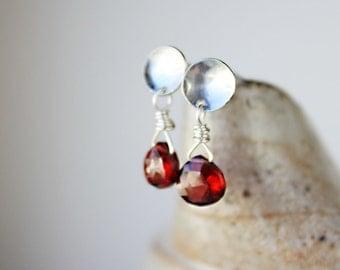Garnet earrings, red gemstone jewelry, sterling silver post earrings, gift for wife girlfriend, small earrings