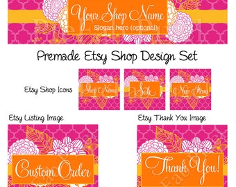 Floral Shop Banner, Etsy Cover Banner, Flower Etsy Banner, Pink Banner, Etsy Banner Set, Orange Banner, Shop Graphics, Hand Drawn Flowers