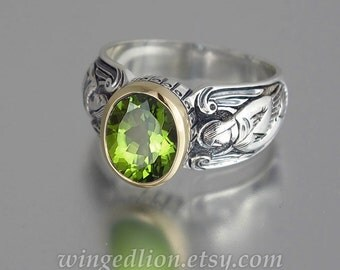 GUARDIAN ANGELS silver 14K ring with Peridot