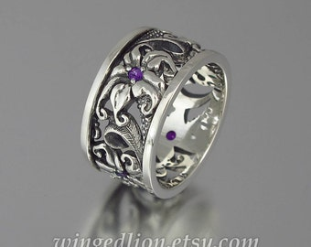 FLORAL Art Nouveau inspired silver band with amethyst accents