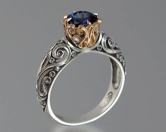 BEATRICE engagement ring in silver and 14K gold with Alexandrite