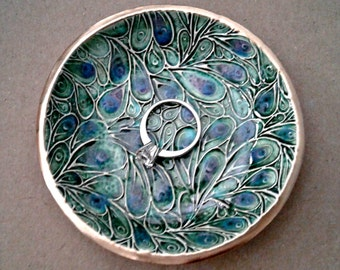 Ceramic Ring Bowl jewelry dish Ring dish Peacock Green Gold edged