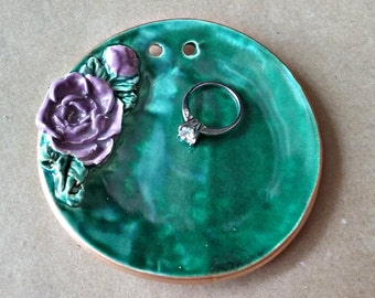 Ceramic Ring Bearer Dish Malachite Green with Purple rose edged in gold