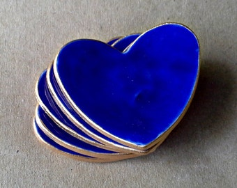 FIVE  Baby shower Ceramic Heart ring bowls itty bittys Cobalt Blue edged in gold
