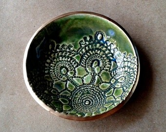Ceramic Lace Ring Bowl Trinket bowl Moss green  gold edged