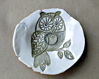 Ceramic Ring Dish Trinket  Dish OFF WHITE edged in gold