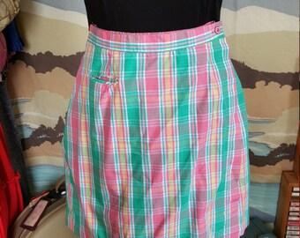 Vintage Preppy Pink and Green Plaid Skort